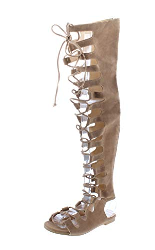 Cape Robbin Womens Open Toe Lace Up Gladiator Over The Knee Thigh High Caged Flat Sandal Boot beige Size: 7 UK