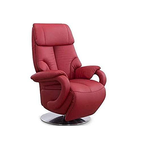 CAVADORE Ledersessel Istanbul / Fernsehsessel mit Aufstehhilfe, elektrisch verstellbarer Relaxfunktion / 2 E-Motoren / 80 x 115 x 79 / Echtleder: Rot