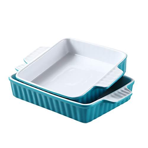 Bruntmor Set Of 2 Rectangular Bakeware Set Ceramic Baking Pan Lasagna Pans for Baking, 9.5 x 7.5 + 8 x 7.5 Teal/white