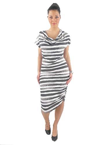 CONLEY'S Kleid Maxikleid Dress Jerseykleid weiß grau Kurzarm (L)