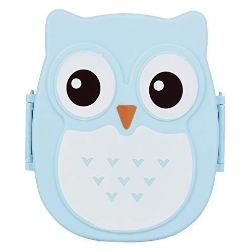 Porta Pranzo Contenitore Bambini Cartoon Gufo Bento Portatile Lunch Box Picnic contenitore 1050 ml (Blu)
