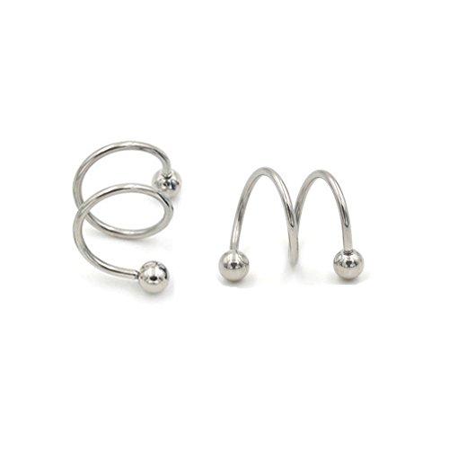 ODETOJOY 1 Paar Punk Spirale Twister Barbell Ohrring für Männer Gauge 16 G Ball 316L Edelstahl eloxiert S Double Ear Knorpel Helix Lippe Ringe Frauen Tragus...