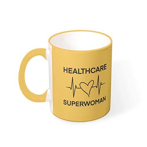 STELULI Taza de café Heartbeat of a Healthcare Superhero de cerámica de primera clase personalizada moderna – Heartbeat Milk Mug se adapta a Lounge para regalo de cumpleaños Goldenrod 330ml