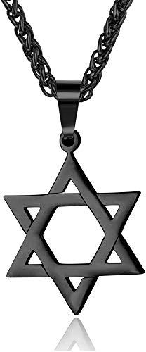 Adramata Collar con Colgante de Estrella de David para Hombres Mujeres Acero Inoxidable joyería judía, Collar con hexagrama 20' Oro/Negro/Plata