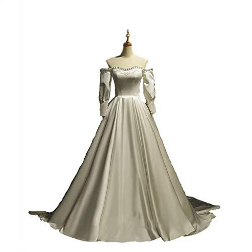 Bruiloft Satijn Bruidsjurk Dames Off-shoulder Satijn Bruidsjurk Staart Feestjurk Lange Bruidsjurk