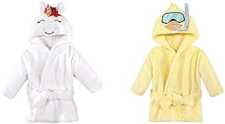 Hudson Baby Girl Plush Animal Face Bathrobe 2-Pack, Christmas Unicorn Scuba Duck