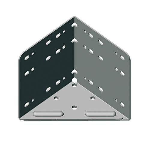 Gedotec Bettwinkel Metall Bettverbinder zum Schrauben - Eckverbinder für Betten & Möbel | 115 x 133 x 115 mm | Stahl silber beschichtet | Winkel extra STARK | 1 Stück - Eckwinkel zum Schrauben im Holz
