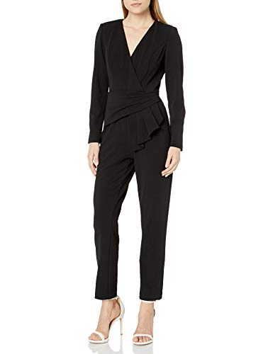 Adrianna Papell Women's Draped Waist Jumpsuit, Black, 12
