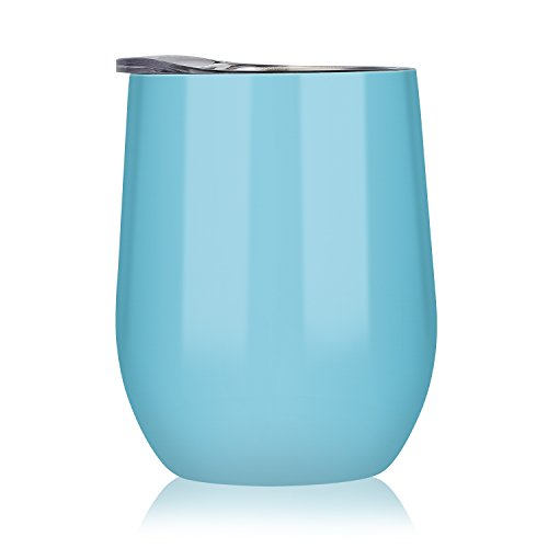 DOKIO 12 oz Seafoam Wine Glass Bridesmaid Cup Stemless Stainless Steel Double Wall Vacuum Insulated With Crystal Clear Lid Great For Ice And Hot Drink Mug Coffee Champagne Cocktails