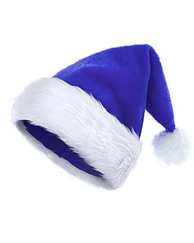 KONVINIT Gorros de Navidad de Felpa de Papá Noel Peludo GorropapáNoel Sombrero de Navidad X-Mas Sombrero de Papá Noel adulto,Azul