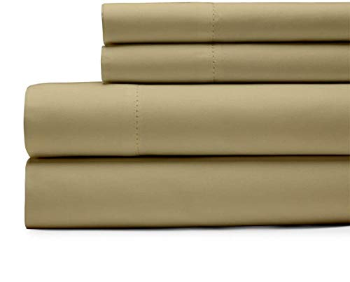 Bedding Basics 100% Egyptian Cotton Sheet Set of 4 Piece - Hypoallergenic 1000 Thread Count (1 Flat Sheet, 1 Fitted Sheet with 18' Deep Pocket, 2 Pillowcases), (Taupe_King)