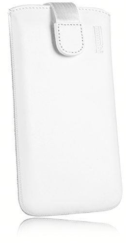 mumbi Echt Ledertasche kompatibel mit Sony Xperia Z5 Premium Hülle Leder Tasche Hülle Wallet, weiss