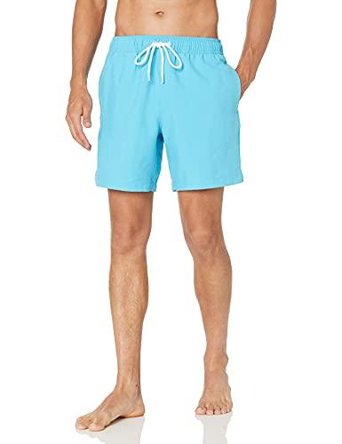 Amazon Essentials Men's 7' Swim Trunk, Aqua, Large
