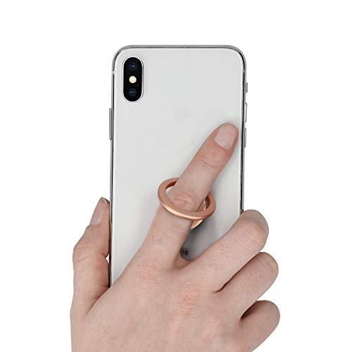 kwmobile Smartphone Ring Fingerhalter aus Metall - 360° drehbare Ringhalter Handy Fingerhalterung mit Standfunktion - Handyring Halterung Roségold