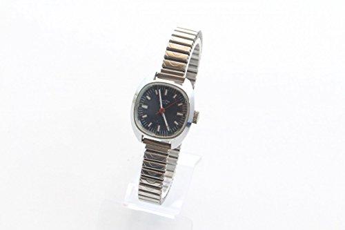 Unbekannt Armbanduhr Uhr Damenuhr ZentRa Ancre Edelstahl Blaues Blatt Band Vintage 1970er