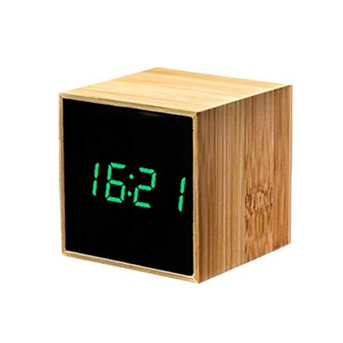 DC CLOUD Reloj Despertador Despertador Madera Relojes Digitales de Noche Los niños Reloj Los niños Reloj de Alarma El Reloj de Alarma Green