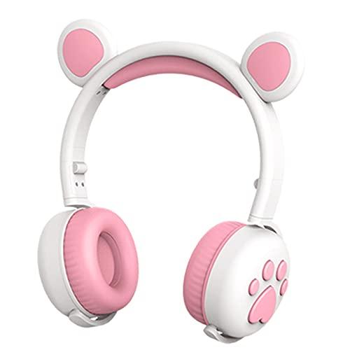 FLAMEER Auriculares inalámbricos RGB 3 Colores LED para niños Orejeras cómodas Plegables con micrófono 15H Tiempo de música para Tableta TV Niños Niñas Niños - Blanco Rosa