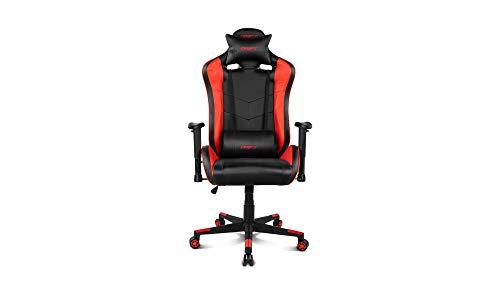 Drift DR85BR - Silla Gaming Profesional, polipiel, reposabrazos 2D, piston clase 4, asiento basculable, altura regulable, respaldo reclinable, cojines lumbar y cervical, color negro/rojo