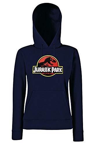 Youth Designs Jurassic Park - Felpa con cappuccio, da donna blu navy L