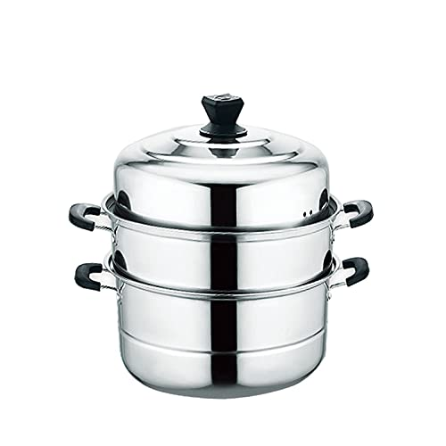 HLONGG Thick Bottomed Stainless Steel Steamer Pot 3 Tier Food Steamer for Cooking Large Metal Steamer Work for Induction And Stove, Suitable Tamale, Vegetable, Dumpling And Seafood,A