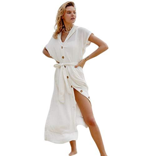 Damen Strandkleider Strand Kittel faltig Stoff Knopf Cape Hemd Rock Sonnencreme Hemd Urlaub Strand Rock (Weiß)