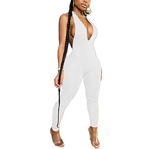 LuFeng Women's Sexy Bodycon Halter Deep V Neck Backless Party Long Jumpsuits Romper (S, White)