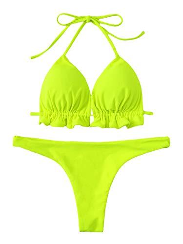 SweatyRocks Women's Solid Color Bathing Suits Halter Triangle Bikini Top Thong Swimsuits Neon Medium