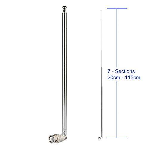Bingfu HF VHF UHF 7-Sections 115cm Telescopic BNC Male Antenna Ham Radio Mobile Radio Scanner Antenna for Amateur Radio Mobile Transceiver Two Way Radio Police Radio Scanner Frequency Counter
