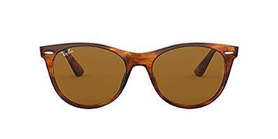 Ray-Ban RB2185 Wayfarer II Sunglasses, Striped Havana/Brown, 55 mm