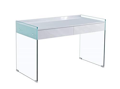HABITMOBEL Mesa Oficina Escritorio Cristal, cajonera, lacada Blanca, 120 x 60 cms