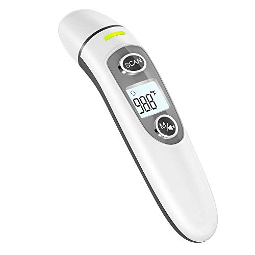Thermometer for Adults,Touchless Digital Infrared Thermometer for Fever, Ear and Forehead Thermometer for Baby and Kids, with LCD Screen, Memory Recall, Fever Alarm (White)