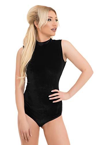 Evoni Velvet - Body para mujer con cuello medio, sin mangas, cómodo body con cierre de gancho, body interior con ajuste óptimo, body deportivo de terciopelo Negro L