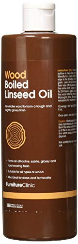Furniture Clinic Boiled Linseed Oil for Wood Furniture & More | 500ml Refined Oil | Glossy Finish for furniture, table tops, stone & metal
