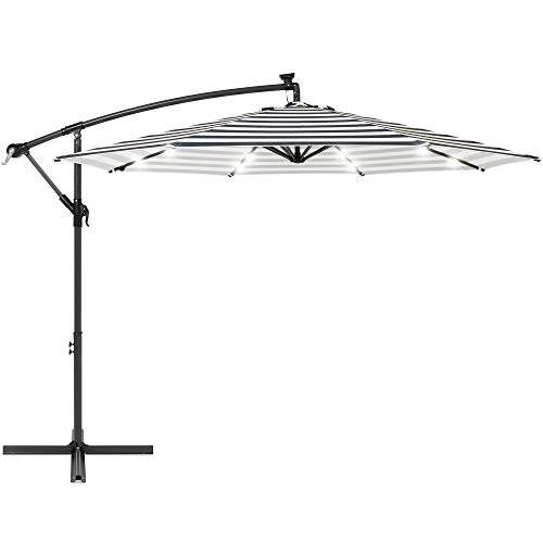 Best Choice Products 10ft Solar LED Offset Hanging Market Patio Umbrella for Backyard, Poolside, Lawn and Garden w/Easy Tilt Adjustment, Polyester Shade, 8 Ribs - Navy Stripe