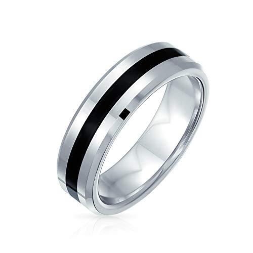 Bling Jewelry Negro Plata Dos Tonos Rayas Parejas Titanio An