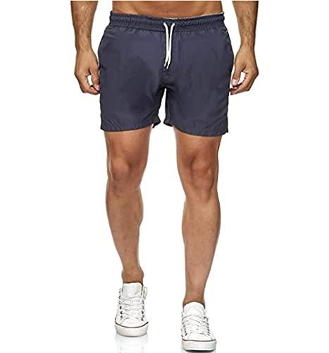 XYYGF Men's Shorts Summer New Sweat-Absorbent Beach Pants Sports Pants Fitness Running Slim Shorts-Gray_L