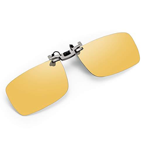 クリップオン サングラス 偏光 めがねの上から 紫外線カット メンズ レディース クリップサングラス 偏光レンズ 黄色 運転 跳ね上げ 夜間 uvカット スクエア型サングラス