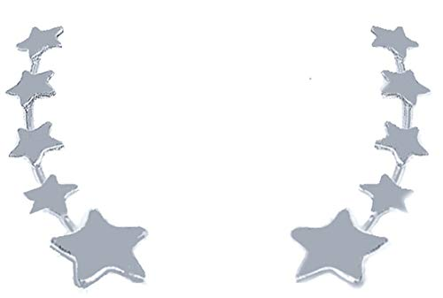 ENTREPLATA Pendientes Trepadores Ear Climber Plata de Ley 925 5 Estrellas