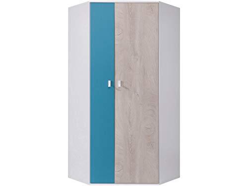 Furniture24 Eckkleiderschrank Planet PL-2, Schrank, 2 Türiger Eckschrank mit 5 Einlegeboden und 2 Kleiderstangen, Jugendschrank (Weiß/Eiche/Marine)