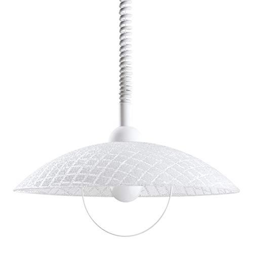EGLO Pendelleuchte Alvez, 1 flammige Hängelampe mit Spiralkabel, höhenverstellbar, Pendellampe klassisch, Küchenlampe aus Kunststoff und Glas in Weiß, Klar, Esstischlampe mit E27 Fassung