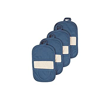 Ritz Royale Collection 100% Cotton Terry Cloth Ritz Mitz, Dual-Function Pot Holder / Oven Mitt Set, 4-Pack, Federal Blue