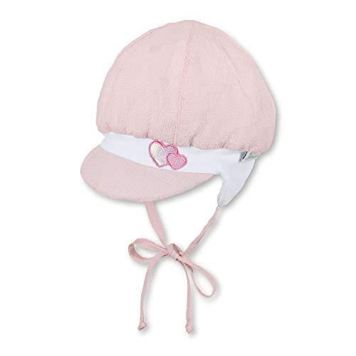 Sterntaler Ballonmütze für Mädchen mit Bindebändern, Ohrenklappen und Herz-Motiven, Alter: 3-4 Monate, Größe: 39, Rosa