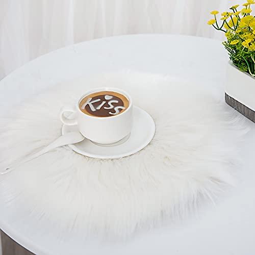 DAOXU Kunstfell Pelz Stuhl, Sitz Pad Shaggy Bereich Teppiche für Schlafzimmer Sofa Boden Home Decorator Teppiche Kinder Spielen Teppich Matte Teppich (Weiß, 30cm runde)