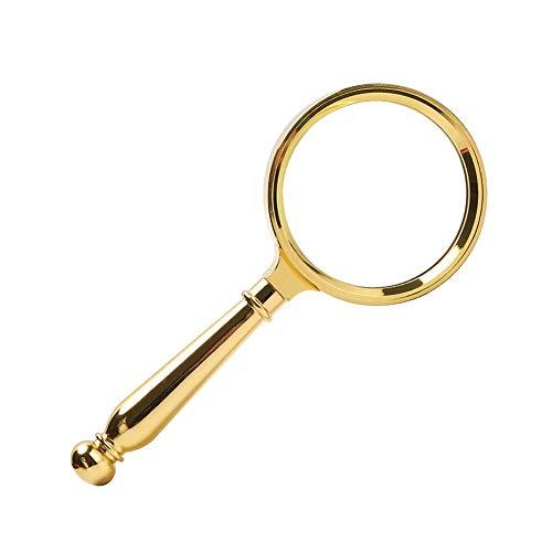 Lupa de mano, lupa de vidrio óptico 5X con mango de metal para leer, pasatiempos, monedas, libros, sellos, inspección, reparación