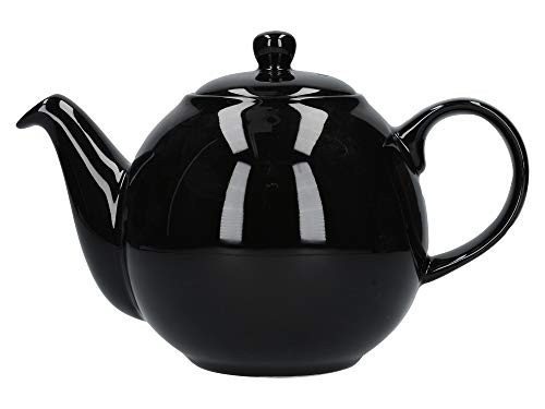 London Pottery Globe Teapot with Strainer, Ceramic, Gloss Black, 4 Cup Capacity (900 ml)