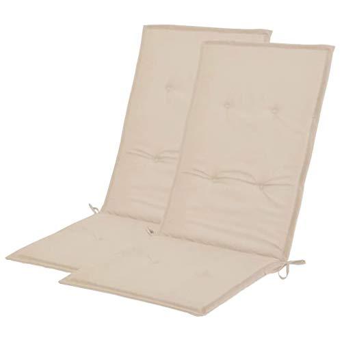 vidaXL 2X Gartenstuhl Auflage Creme Hochlehner Stuhlauflage Sitzkissen Kissen
