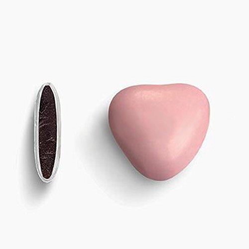 Herzdragees rosa 1 kg (ca. 500-550 Stück) - Gastgeschenke Hochzeit Bonboniere Candy Bar Give Aways - Schokolinsen Herz Schokodragees Schokoherzen Schokoladenherzen - Alternative zu Hochzeitsmandeln