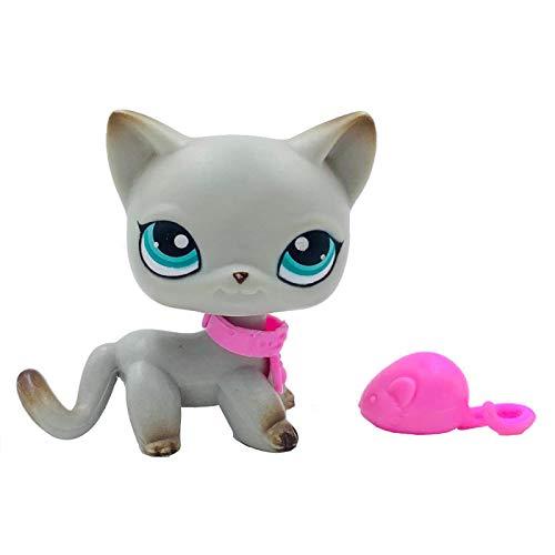 LPS CAT Rare Pet Shop Juguetes Stand Pelo Corto Gatito con Ratón y Collar Antiguo Colección Animal Original Juguete con Accesorios