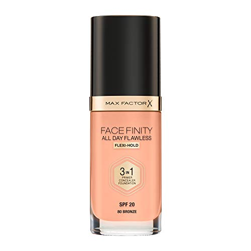 Max Factor Facefinity All Day Flawless 3 in 1 Foundation in Bronze 80 – Primer, Concealer & Foundation in einem – Für ein perfekt mattiertes Finish – 1 x 30 ml
