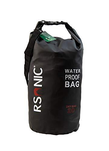 RSonic 5/10/20 Liter Dry Bag Wanderrucksack, wasserdichter Packsack gepolsterte Schulter-Gurte - Stausack Seesack - Wasserfester Rucksack - Kajak, Rafting, Segeln Tasche (Schwarz, 5Liter)